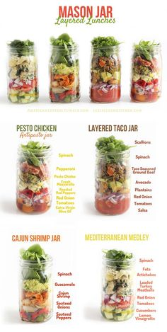Mason Jar Lunches - Cool idea for tasty, healthy lunches at work or anywhere from Lexi's Clean Kitchen