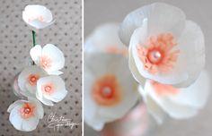 Handmade white paper anemone.