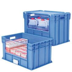 Drop on Lid - Euro Picking Containers, Long Side Lift Table, Truck Transport, Stair Climbing, Hazardous Materials, Moving Furniture, Long Sides, Wall Racks, Plastic Containers, Small Boxes