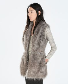 Image 1 of FUR VEST WITH WAIST SEAM from Zara
