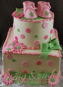 shabby chic baby cakes | ... our classic baby shower cake in the colors of the shabby chic baby s