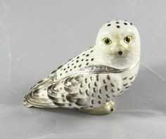 New Trinket Box Gift Painted Crystals Snow Owl Bird Animal Necklace