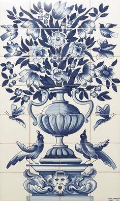 Painéis e Murais - Viúva Lamego Tile Murals, Mural Art, Tile Art, Botany Illustration, Black Cat Tattoos, Baroque Art, Vintage Drawing, Portuguese Tiles, Blue Pottery