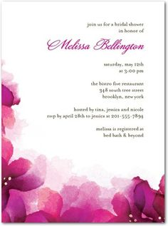 LOVE LOVE LOVE this bridal shower invite - But in the Plum Purple!!!