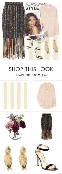 """""""Untitled"""" by vict0ria ❤ liked on Polyvore featuring Equipment, Coleman, MSGM, Oscar de la Renta, Manolo Blahnik and zendaya"""