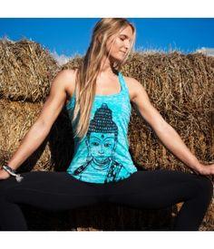 Buddha Let it Go Girls Burnout Racer Tank Aqua