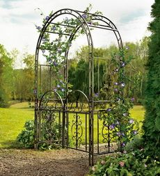 "Burnished Bronze Finished Iron Montebello Garden Arbor With Gate.  54""W x 23""D x 84""H  Available at Plow and Hearth for $179.95."