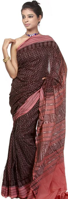 Cordovan Sambhalpuri Sari from Orissa with All-Over Ikat Weave