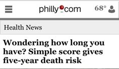 Simple score gives five-year death risk  http://www.ubble.co.uk