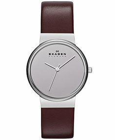 Skagen Denmark Watch, Women's Burgundy Leather Strap 34mm SKW2077 - Skagen Denmark - Jewelry & Watches - Macy's