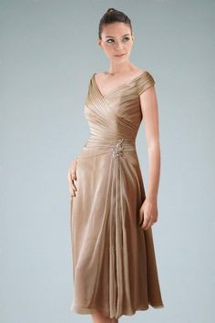 9c466bb766d Tea-length Sheath Mother of the Bride Dress with Delicate Ruches and Brooch  Mob Dresses