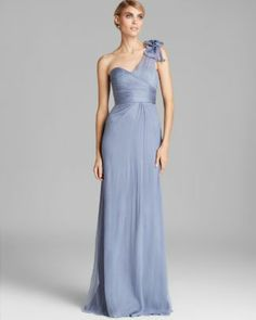Amsale One Shoulder Bow Detail Chiffon Gown  Bloomingdale's
