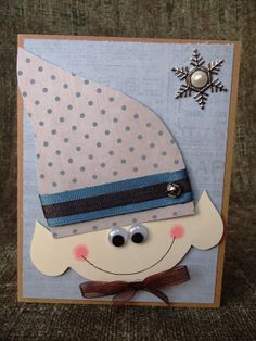Elf Christmas Card, Blue and Brown