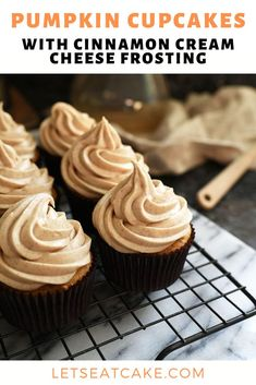 Fall Dessert Recipes, Holiday Desserts, Just Desserts, Delicious Desserts, Fall Recipes, Pumpkin Spice Cupcakes, Pumpkin Cookies, Pumpkin Dessert, Cinnamon Cupcakes