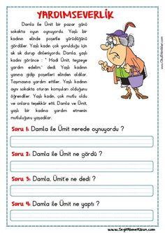 OKUMA ANLAMA METNİ – YARDIMSEVERLİK YARDIMSEVERLİK – Okuma anlama metni Özgün bir çalışma olarak pdf formatında hazırlanmıştır. Sitede bulunan çalışmaları özgün içerik olarak hazırlıyoruz. Bu.. Learn Turkish, Turkish Language, Reading Passages, Activity Games, Preschool Crafts, Grade 1, Elementary Schools, Activities For Kids, Drama