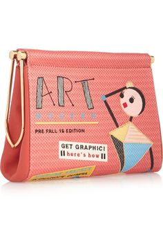 """Charlotte OlympiaArt Modern Maggie embroidered crepe de chine clutch outfit, 9""""w x 6.5""""h x 3""""d, coral, crepe de chine, fully lined in beige satin, magnetic fastening, $582 (reg $1,295)"""