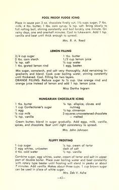 Friedland cook book : past and present Retro Recipes, Old Recipes, Cookbook Recipes, Vintage Recipes, Baking Recipes, Family Recipes, Recipies, Cake Frosting Recipe, Frosting Recipes