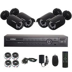 KAREye KAREye 4CH 1080P AHD DVR Outdoor Indoor Day Night IR-CUT CCTV Surveillance Home Video Security Camera System,Motion Dete