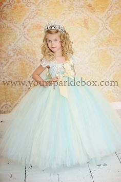 Vintage Blue, Ivory and Champagne Tutu Dress Flower Girl by YourSparkleBox