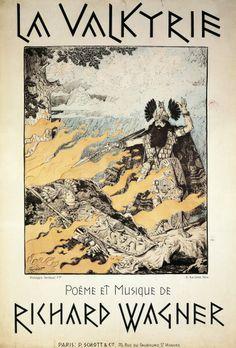 CIRCA 1989: Richard Wagner (1813-1883), Der Ring des Nibelungen - Die Walkure (The Ring of the Nibelung - The Valkyrie).  Poster by Grasset, 1893. #DieWALKURE #wagner #poster #valkyri