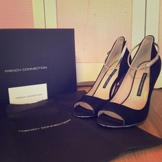 """French Connection Ankle Strap Open Toe Pump. Brand new, in box, French Connection suede open toe pump in black with a metallic silver ankle strap. Heel measures app. 4"""". Includes dust bag. French Connection Shoes Heels"""