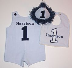 Boys Custom Boutique First Birthday Shortall or by BudsnBranches, $54.00