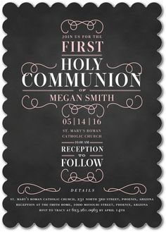 Rightfully Just: Girl - Communion Invitations in Soft Pink or Chenille | Elk Design