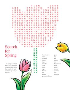 Search For Spring Words Activity from Printable Word Search for Kids category. Find out more awesome printable coloring for your children Spring Word Search, Kids Word Search, Spring Coloring Pages, Coloring Pages For Kids, Coloring Sheets, Puzzles For Kids, Games For Kids, Free Printable Crossword Puzzles, 1st Birthday Games