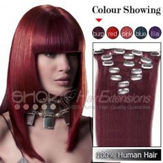 20 Inches 7pcs Clip-in Human Hair Extensions Straight Burg