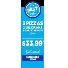 3 Pizzas + 2 Garlic Bread & 2 1.5L Drinks @ Domino`s Pizza from $33.99…