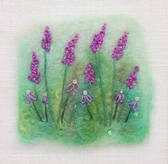 Purple Hand Embroidered Flowers needle felted by tillyteadance Felted Soap, Wet Felting, Embroidery Art, Embroidery Patterns, Art Patterns, Japanese Embroidery, Flower Embroidery, Embroidery Stitches, Felt Pictures