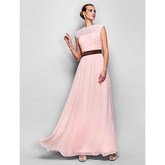 TS Couture Formal Evening / Prom / Military Ball Dress - Pearl Pink Plus Sizes / Petite A-line Jewel Floor-length Georgette – USD $ 99.99