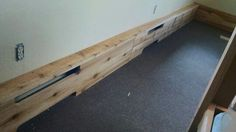 White cedar base boards to cover radiant heat piping.