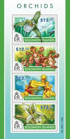 Post stamp Solomon Islands SLM 15301 aOrchids (Bipinnula fimbriata, Vanda concolor, Oncidium excavatum, Chloraea bletioides)