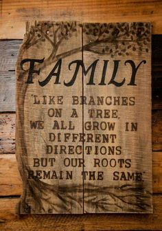FAMILY Like branches on a tree, we all grow different directions but our roots remain the same