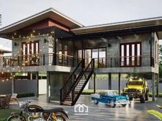 Raised platform L-shaped house with two bedrooms and spacious veranda - Cool House Concepts Stilt House Plans, Modern House Plans, House On Stilts Plans, Thai House, Cottage House Plans, Cottage Homes, Style At Home, L Shaped House Plans, Raised House