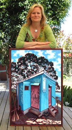 Rachel Olsen   Contemporary Artists   Cooks Beach Mercury Bay Beach Scenery, New Zealand Art, Nz Art, Olsen, Beautiful Beaches, Contemporary Artists, Old Houses, Bird, Mercury