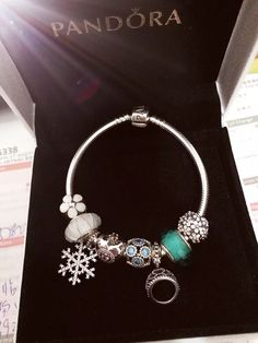 50% OFF!!! $219 Pandora Charm Bracelet White Green. Hot Sale!!! SKU: CB01888 - PANDORA Bracelet Ideas