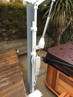 Extended Height and Reach Hot Tub Hoist - Dolphin Mobility Handicap Bathroom, Spreader Bar, Dolphins, Tub, Bathtub, Soaking Tubs, Common Dolphin, Seal, Bathtubs