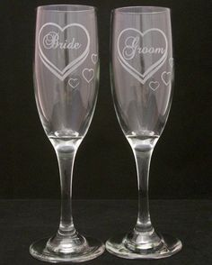 Bride Groom Etched Hearts Wedding Toasting glasses, Wedding gifts, Bridal shower gifts. $29.99, via Etsy.