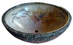 luxurious sink, stone sink with mosaic - bayamozaya