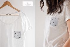 NOTE:  change a whole shirt:  could use a solid**** color t-shirt + one of my ***favorite ****fabrics! ---Cute pocket t-shirt | 40 No-Sew DIY Projects