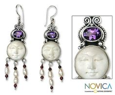 Amethyst+and+pearl+dangle+earrings,+'Moon+Prince'+at+The+Rainforest+Site