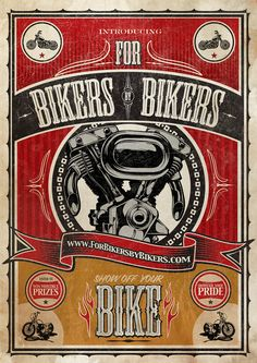 Bikers - Shepard Fairey Obey Psychedelic Hippie Peace Art Poster ~ ☮~ღ~*~*✿⊱ レ o √ 乇 ! Logos Vintage, Vintage Labels, Vintage Signs, Vintage Posters, Bike Poster, Motorcycle Posters, Motorcycle Art, Harley Davidson, Shepard Fairey Obey