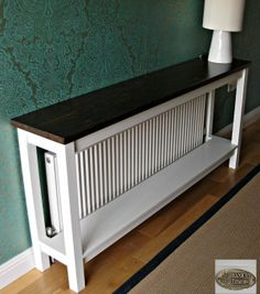 10 Cool Ways To Improve Your Home With a DIY Radiator Cover - Narrow table to cover the radiator Best Picture For Home diy bedroom For Your Taste You are looki - Interior, Diy Furniture, Hall Table, Home Decor, House Interior, Home Diy, Trending Decor, Diy Radiator Cover, Narrow Table
