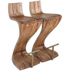 Pair of Sculptural Wood Bar Stools with Solid Brass Foot Rests