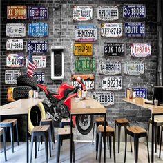 European & American Retro Brick Wall Motorcycle Wallpaper - 160W x 100H inches / Non-woven Paper