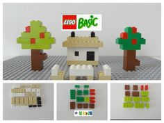 Lego super easy instructions on how to make a house , chairs and trees(ต...