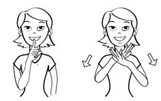 Video: Quiet (abbreviated) in Baby Sign Language Video: Quiet (full) in Baby Sign Language Signing: To sign quiet, bring your index finger to your lips. (The universal shhh sign) Note: this is an a… Baby Sign Language Video, Sign Language For Toddlers, Sign Language Book, Simple Sign Language, Sign Language Phrases, Sign Language Alphabet, Sign Language Interpreter, British Sign Language, Libra