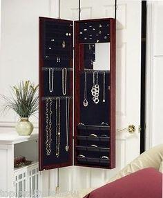 Jewelry Mirror Armoire Door Hang Wall Mount Organizer Cabinet Storage 6 Colors